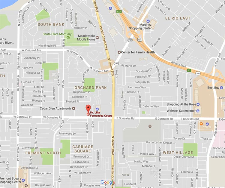 static Google map depicting marker at location of Dr. Lilia Fernandez Coppa's Pediatric Office, 451 W. Gonzales Rd. Suite 130, Oxnard, CA 93036